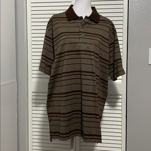 Daniel Cremieux Brown Striped Short Sleeve Polo